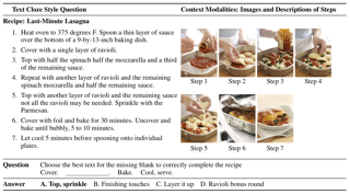 RecipeQA: A Challenge Dataset for Multimodal Comprehension of Cooking Recipes